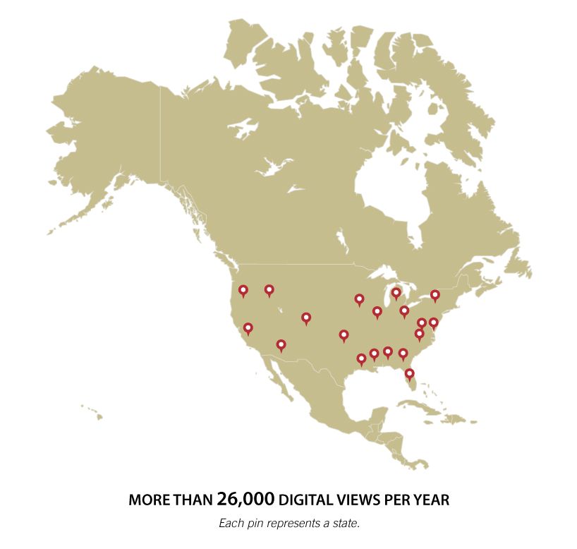 Geographic distribution of digital views